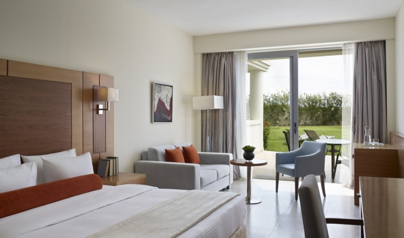 A double room with garden view offers luxury accommodation in Rhodes